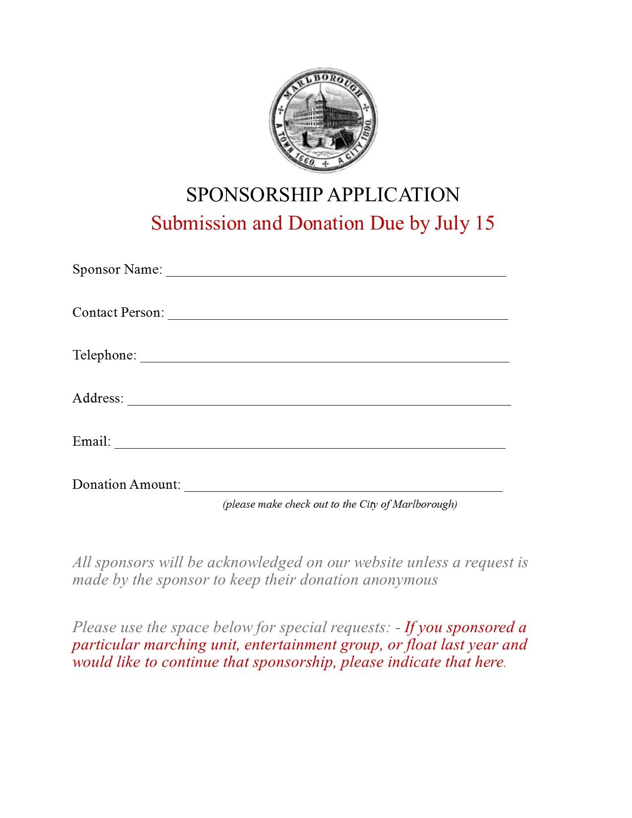 Click Here For Sponsorship Form  Generic Sponsorship Form