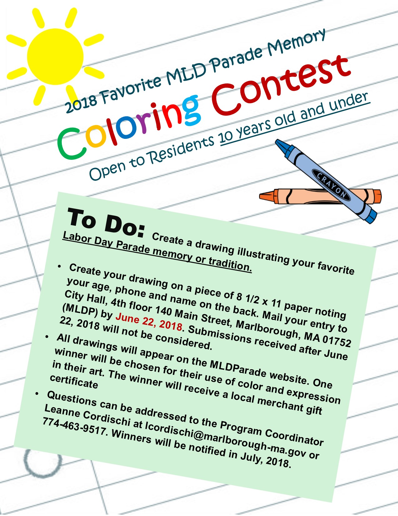 Essay and Coloring Contest 2018